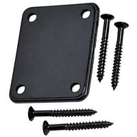 YMC Electric Guitar Parts Set Neck Plate With Screws For Strat Tele Bass Black