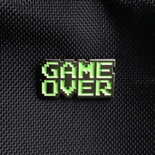 "1"" wide enamel game over video space invaders lapel hat badge pinback pin"
