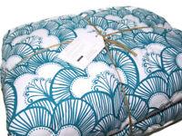 Pottery Barn Teen Aqua Gemma Floral Reversible Super Pouf Full Queen Comforter