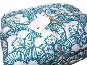 Pottery Barn Teen Aqua Gemma Floral Reversible Super Pouf Full Queen Comforter
