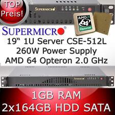 1u/1he servidor Supermicro * AMD Opteron 64 2.0 GHz * 1gb RAM * 2 x 164gb HDD