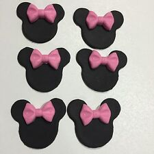 Edible Minnie Mouse With Pink Bow Cake Cup Cake Toppers X 6