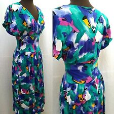 Vintage R.E.O. Orignals Abstract Print Button Back Dress - Size Xs