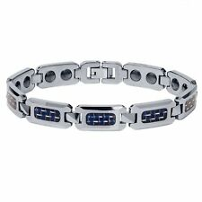 Men's Shiny Tungsten Carbide Bracelet w/ Blue Carbon Fiber  Inlay  OUR #1 SELLER