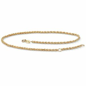 """10k Yellow Gold Tailored Ankle Bracelet Adjustable 9""""-10"""""""