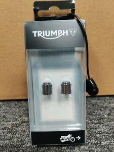 Genuine Triumph A2009006 - Valve Caps - Laser Etched Chrome