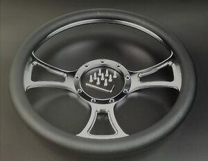 "Steering Wheel 9 Holes 14"" Chrome Billet Aluminum Independent Half Wrap"