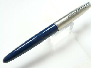 """PARKER 21 AEROMETRIC FOUNTAIN PEN IN BLUE STEEL FINE NIB   5.25"""" LONG"""