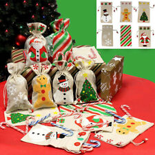 10Pcs Christmas Drawstring Gift Bags Cookies Candy Storage Reusable Pouch