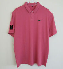 Nike Tiger Woods Collection Golf Polo Stretch Dri Fit Pink Striped Mens Sz Large