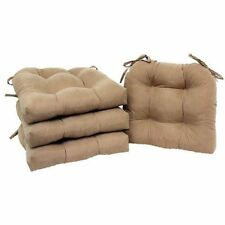 Chair Pads Set of 4 with Ties Cushion Seat Support Kitchen Sofa Patio Beige