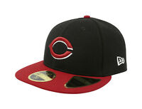 New Era 59Fifty Hat Mens MLB Low Profile Cincinnati Reds Black Red 5950 Cap