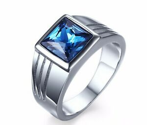 High Quality Blue Rhinestone / Zircon 316L Stainless Steel Silver Ring Men 8-11