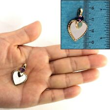 Heart Design Mother of Pearl & Amethyst 14k Solid Yellow Gold Pendant TPJ