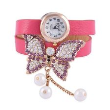 DESIGNER BUTTERFLY GENUINE AUSTRIAN CRYSTAL  WATCH DOUBLE BAND PINK W/DANGLE
