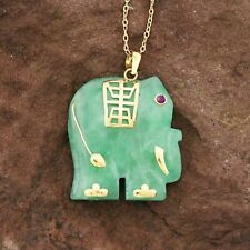 14k Yellow Gold Estate Ruby Eyed Jade Elephant Animal Necklace 18""