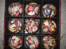 Rare Box Set of 9 Victorian Design Paper Mache' Unbreakable Christmas Ornaments