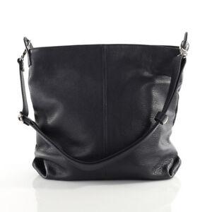 Tasche Handtasche Ital. Echt Leder Schultertasche Umhängetasche Schwarz NEU