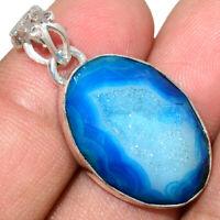 Marine Blue Aura Druzy 925 Sterling Silver Pendant Jewelry AP215699 XGB