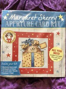 Margaret Sherry Cat In Present Box Christmas Cross Stitch Card Kit