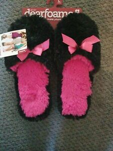 WOMEN'S DEARFOAMS NO BACK SLIPPERS SOFT FOAM CUSHION, FURY Holiday SZ L