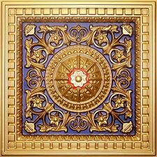 "Faux Ceiling Tiles TIN LOOK PVC DROP IN 2'x2' 24""x24"" D215 GOLD BLUE RED"