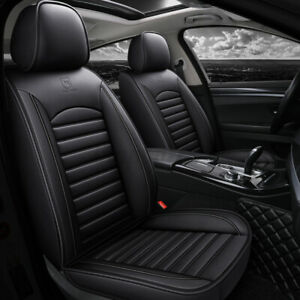 Black Universal Car Front Seat Mat Covers PU Leather Breathable Cushions Pad