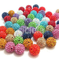 New 20Pcs Czech Crystal Rhinestones Pave Clay Disco Ball Spacer Beads Jewelry