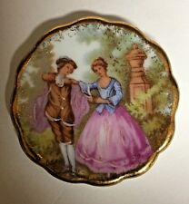 """Limoges France Decorative Miniature Plate Courting Couple & Plate Hanger 1.75"""""""