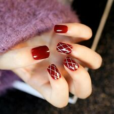 New Acrylic Nails Kit 24pcs Wine Red Design Short Fake Nails with Glue Sticker