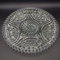 "Vintage Large Pressed Clear Glass Diamond Cut Starburst Serving Platter 12"""