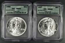 1986 & 1987 ICG MS69 AMERICAN SILVER EAGLE SET OF 2 COINS