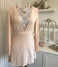 Women's Forever 21 Mini Dress Blush Nude Pink Large Plunge V Neck Empire Waist