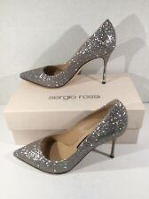 SERGIO ROSSI Womens Glitterama Silver Pumps Stiletto Heels Shoes Sz EU 39 ZC-104
