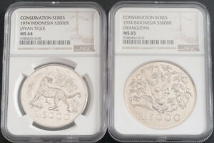 1974, Indonesia (Republic). Large Silver 2000 & 5000 Rupiah Coins. NGC MS-64/65!