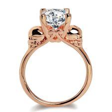 Crystal Yellow Jewelry Women Halloween Double Skull Ring Golden Color Wedding 8
