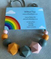 Teething Necklace Nursing Sensory Silicone Jewellery BPA Free Pink Grey & Orange