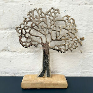Metal Silver Family Tree Of Life On Wooden Base Stand Sculpture Ornament
