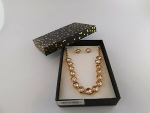 K&M Accessories Necklace and Earrings Box Set PInk Rhinestones