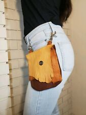 LEATHER Clip-on Hip Purse -USA Handmade Tans and Brown Deerskin Belt Bag