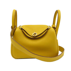 HERMES Mini Lindy Shoulder Bag GHW Taurillon Clemence leather Yellow Jaune ambre