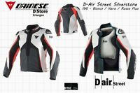 DAINESE D-AIR STREET SILVERSTONE LEATHER JACKET - WHITE BLACK FLUO RED - EU 54