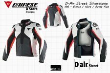 DAINESE D-AIR STREET SILVERSTONE LEATHER JACKET - WHITE BLACK FLUO RED - EU 46