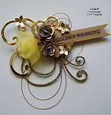 3D GOLDEN WEDDING ANNIVERSARY CARD CRAFT TOPPER, EMBELLISHMENT  WED-G
