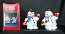 Saint Nicholas Square Snowman Holiday Salt Pepper Shakers Nib Free Usa Shipping
