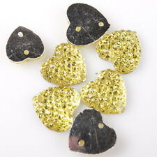 100x Wholesale Yellow Shining Charms Heart Sew On Resin Beads Buttons 11mm 24317