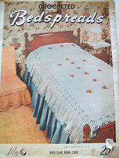 1948 Lily Crocheted Bedspreads Crochet Pattern Book Afghan Rug Vanity Set Doily