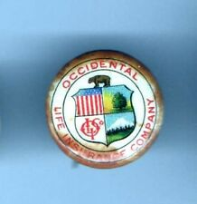 old OCCIDENTAL Life INSURANCE Company pin button Bear
