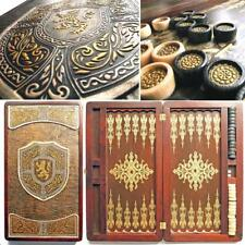 Luxury Large Wooden Backgammon Set Leather Pieces Tournament Board Game + Chips