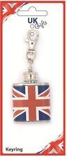 1oz British Union Jack Flag Stainless Steel Keyring Hip Flask Wedding Gift